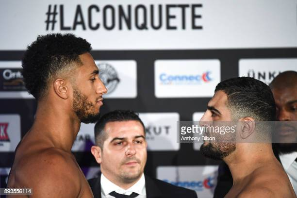 Tony Yoka and Ali BAGHOUZ during press conference ahead the fight against Ali Baghouz on December 15 2017 in BoulogneBillancourt France