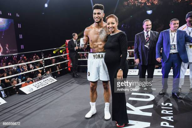 Tony Yoka and her wife Estelle Mossely during the boxing event la conquete at Palais des Sports on June 2 2017 in Paris France