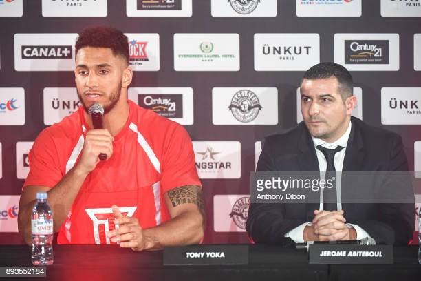 Tony Yoka and Jerome Abiteboul during press conference ahead the fight against Ali Baghouz on December 15 2017 in BoulogneBillancourt France