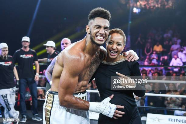 Tony Yoka celebrates the victory with her pregnant wife Estelle Mossely during the boxing event la conquete at Palais des Sports on June 2 2017 in...