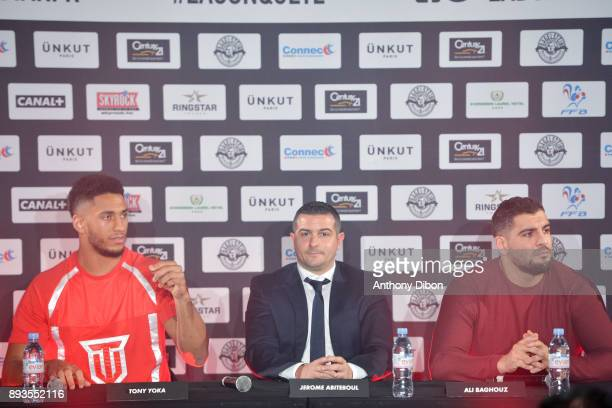 Tony YOKA Jerome Abiteboul and Ali BAGHOUZ during press conference ahead the fight against Ali Baghouz on December 15 2017 in BoulogneBillancourt...
