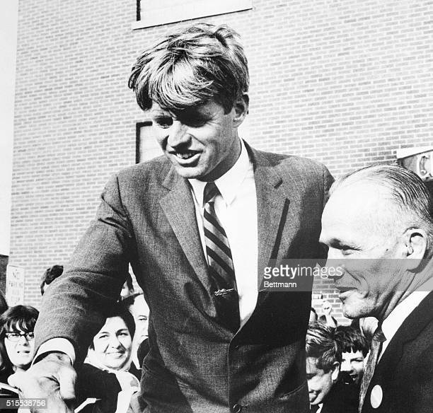 Tony Zale former middleweight champion of the world is among those greeting Senator Robert F Kennedy during his campaign visit Kennedy was to make a...