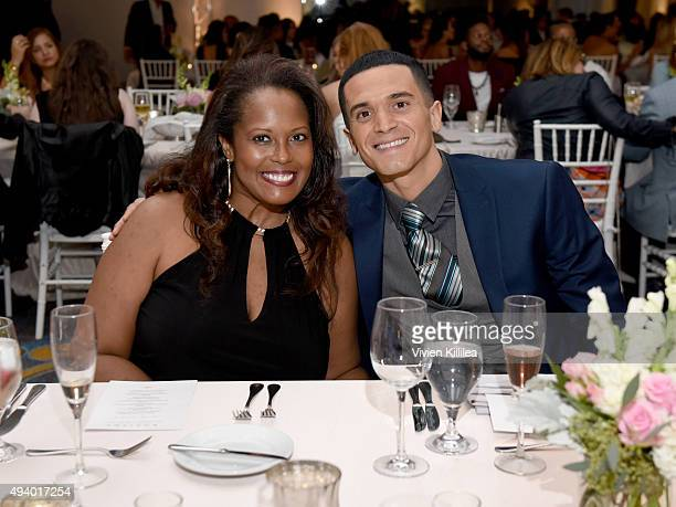 Tonya Cannon and actor Vinicius Machado attend the Pia Gladys Perey Spring/Summer 2016 Fashion Show at Sofitel Hotel on October 23 2015 in Los...