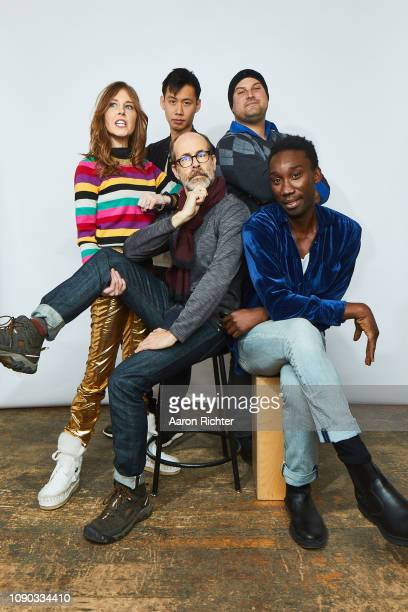 Tonya Cornelisse Kelly Sry Brian Huskey Max Adler and Nathan StewartJarrett from 'Mope' pose for a portrait in the Pizza Hut Lounge in Park City Utah...