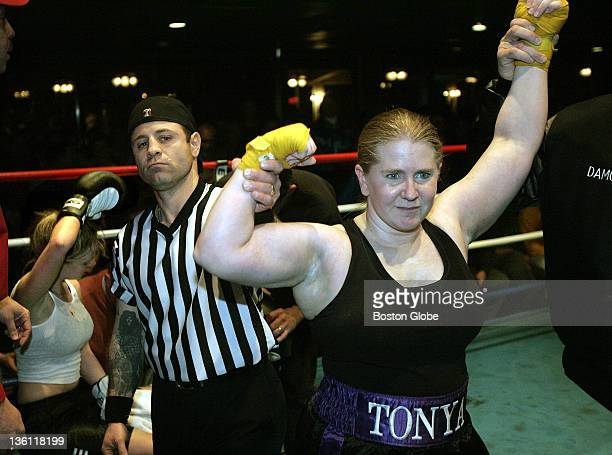 Tonya Harding after her second round technical knockout of Brittany Drake at The Lagoon in Essington Pa