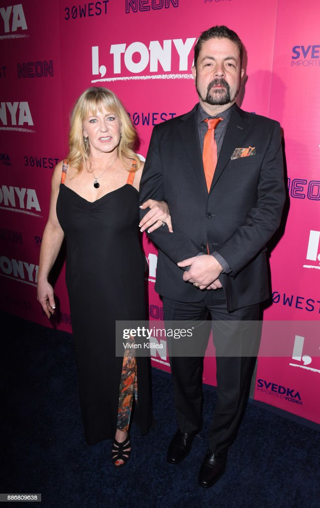 Tonya Harding and Joseph Jens Price attend NEON and 30WEST Present the Los Angeles Premiere of 'I, Tonya' Supported By Svedka on December 5, 2017 in Los Angeles, California.