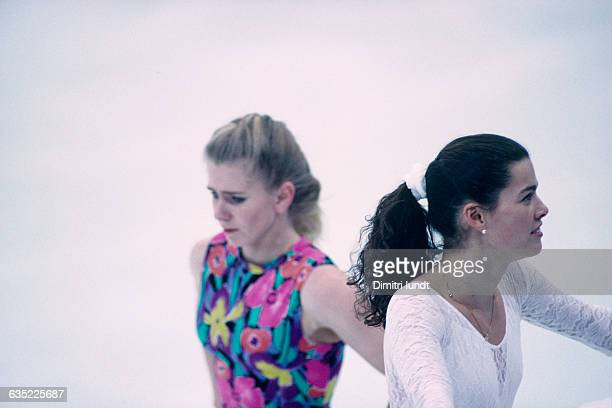 Tonya Harding and Nancy Kerrigan both from USA during a training session of the 1994 Winter Olympics It's just one month after Harding became...