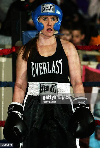 Tonya Harding is pictured during a boxing exhibition during the second period intermission at the Colorado Eagles versus Indianapolis Ice hockey game...