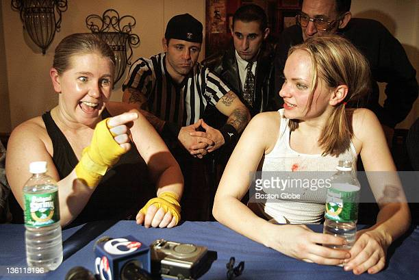 Tonya Harding meets the press after her second round technical knockout of Brittany Drake at The Lagoon in Essington Pa