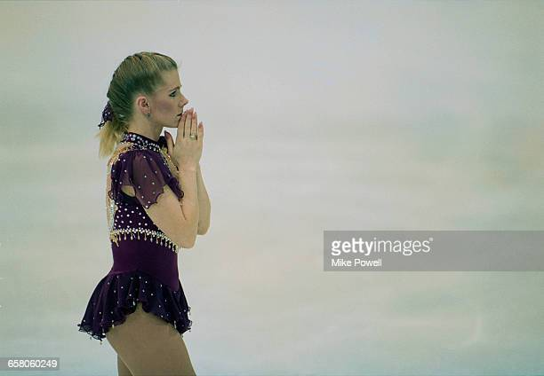 Tonya Harding of the United States during the Women's Singles Figure Skating on 25 February 1994 during the XVII Olympic Winter Games at the Olympic...