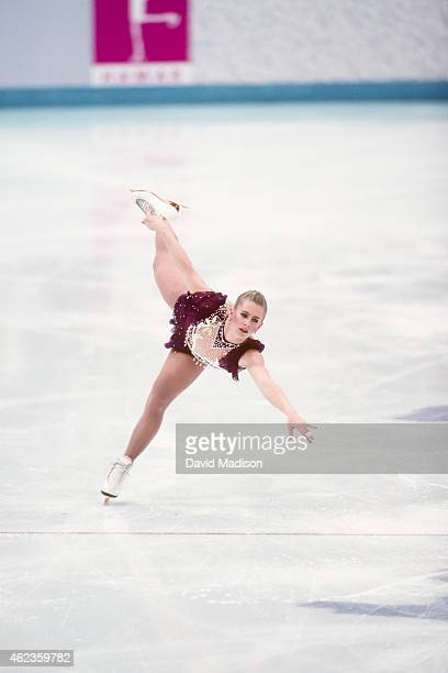 Tonya Harding of the USA competes in the Free Skate portion of the Women's Figure Skating competition of the 1994 Winter Olympics on February 25 1994...
