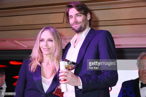 Tonya Kinzinger and Best 2018 awarded Camille Lacourt attend the 41st 'The Best' Award Ceremony in Paris Paris Fashion Week Haute Couture Spring...