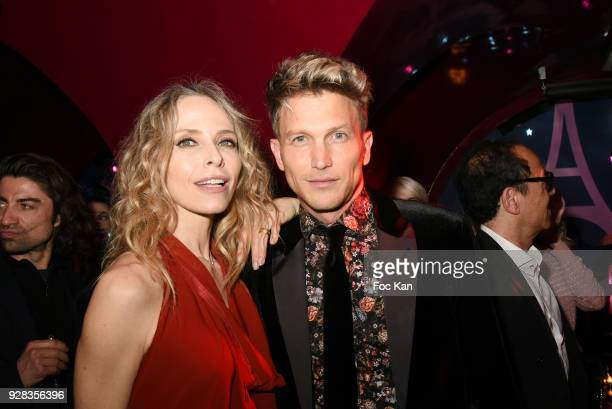 Tonya Kinzinger from Danse Avec les Stars and Pierre Barbe attend 'Mecs A Poils' Stefanie Renoma Exhibition Party at Castel Club Paris Fashion Week...