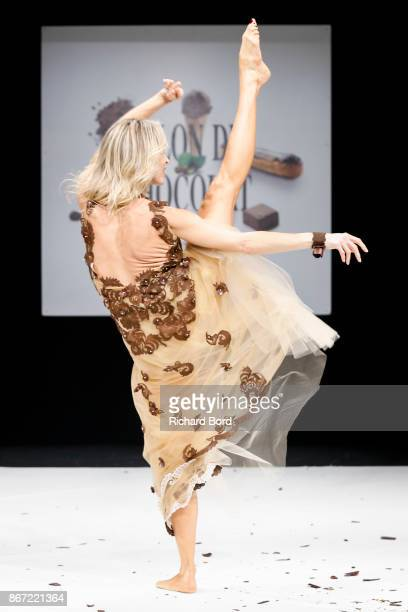 Tonya Kinzinger walks the runway during the Dress Chocolate show as part of Salon du Chocolat at Parc des Expositions Porte de Versailles on October...