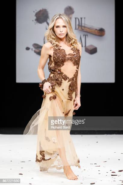 Tonya Kinzinger walks the runway during the Dress Chocolate show as part of Salon du Chocolat at Parc des Expositions Porte de Versailles on October...