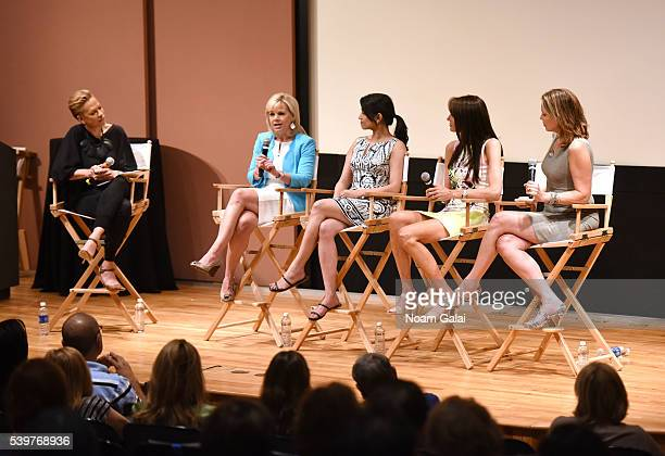 Tonya Lee Lewis Gretchen Carlson Reena Ninan Nancy Armstrong and Hannah Storm speak Women at the Top Female Empowerment in Media Panel at the 2016...