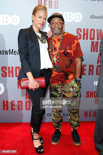 Tonya Lewis Lee and Director Spike Lee attend 'Show Me A Hero' New York screening at The New York Times Center on August 11 2015 in New York City