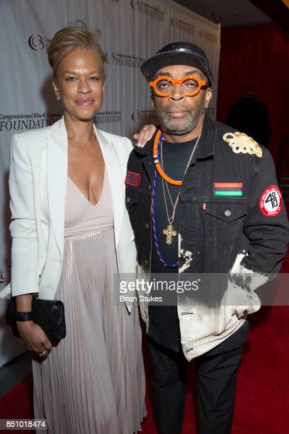 Tonya Lewis Lee and Spike Lee attend CBC Spouses 21st Annual Celebration of Leadership in the Fine Arts at Shakespeare Theatre on September 20 2017...