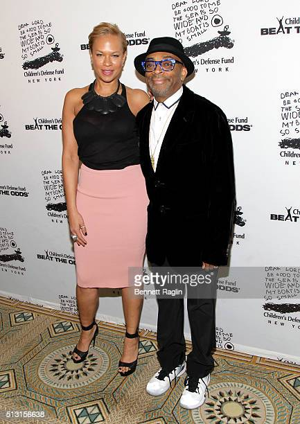 Tonya Lewis Lee and Spike Lee attend Children's Defense Fund's Beat the Odds Gala at the Pierre Hotel on February 29 2016 in New York City