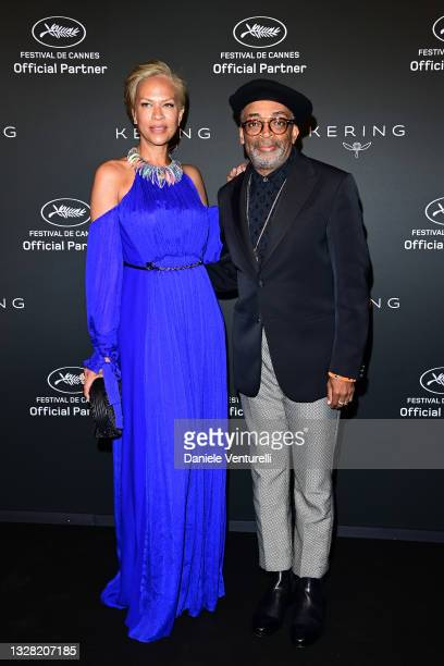 Tonya Lewis Lee and Spike Lee attend Kering Women In Motion Awards Photocallon July 11, 2021 in Cannes, France.