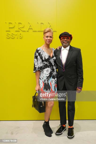 Tonya Lewis Lee and Spike Lee attend Prada Spring/Summer 2019 Womenswear Fashion Show on September 20 2018 in Milan Italy