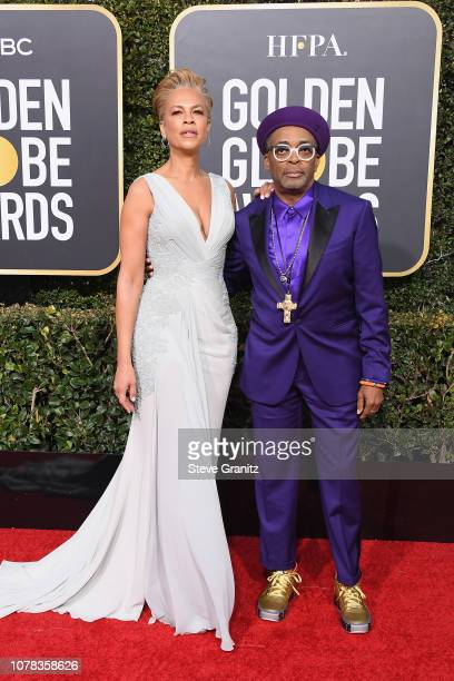 Tonya Lewis Lee and Spike Lee attend the 76th Annual Golden Globe Awards at The Beverly Hilton Hotel on January 6 2019 in Beverly Hills California