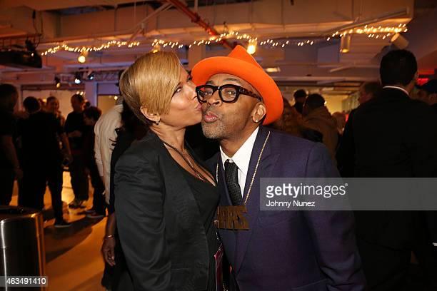 Tonya Lewis Lee and Spike Lee attend the Ol' Skool Sneaker Jam at BRIC Arts on February 14 in Brooklyn New York
