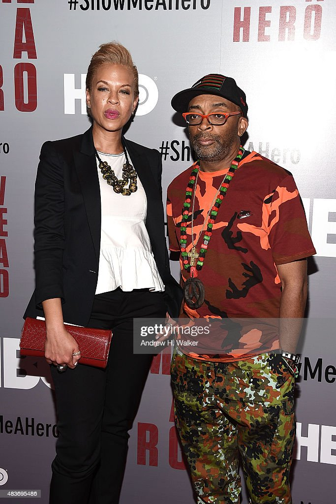Tonya Lewis Lee and Spike Lee attend the 'Show Me A Hero' New York screening at The New York Times Center on August 11, 2015 in New York City.