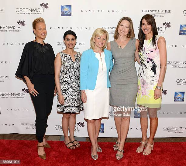 Tonya Lewis Lee Reena Ninan Gretchen Carlson Hannah Storm and Nancy Armstrong attend Women at the Top Female Empowerment in Media Panel at the 2016...
