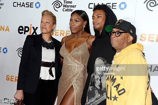 Tonya Lewis Lee Serena Williams Jackson Lee and Spike Lee attend The Premiere of EPIX Original Documentary Serena at SVA Theatre on June 13 2016 in...