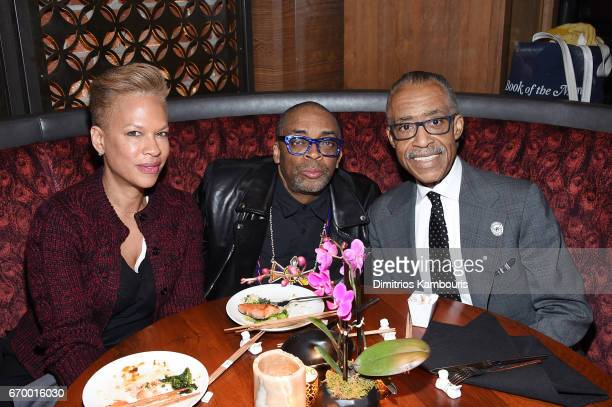 Tonya Lewis Lee Spike Lee and Al Sharpton attend the after party for'The Immortal Life of Henrietta Lacks' premiere at TAO Downtown on April 18 2017...