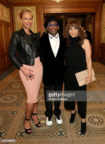 Tonya Lewis Lee Spike Lee and Rosie Perez attend Children's Defense Fund's Beat the Odds Gala at the Pierre Hotel on February 29 2016 in New York City