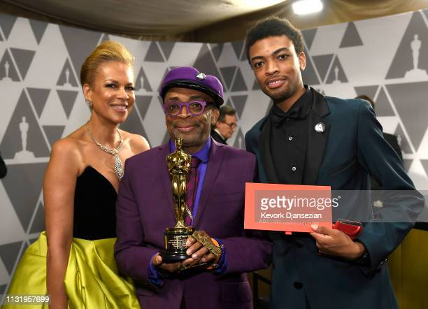 Tonya Lewis Lee Spike Lee winner of Adapted Screenplay for ''BlacKkKlansman' and Jackson Lee attend the 91st Annual Academy Awards Governors Ball at...