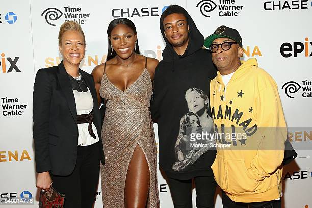 Tonya Lewis Lee Tennis Player Serena Williams Guest and Director Spike Lee attend the EPIX New York Premiere of 'Serena' on June 13 2016 in New York...