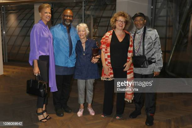 Tonya Lewis LeeTheaster Gates Joan Jonas Carolyn Christov and Spike Lee attend Opening Of Theaster Gates' Exhibition 'The Black Image Corporation' At...