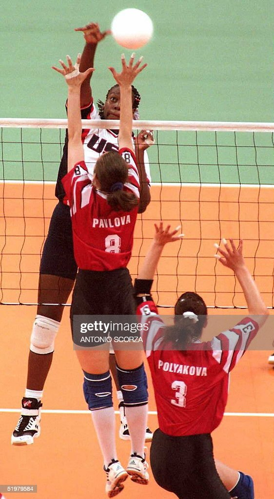 Tonya Williams of the US spikes the ball 20 July p : News Photo