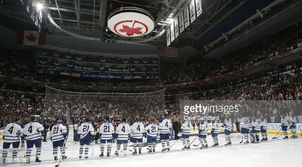 Too celebrate the achievements of three former Toronto Maple Leafs players Leonard 'Red' Kelly Clarence 'Hap' Day and Borje Salming members of the...