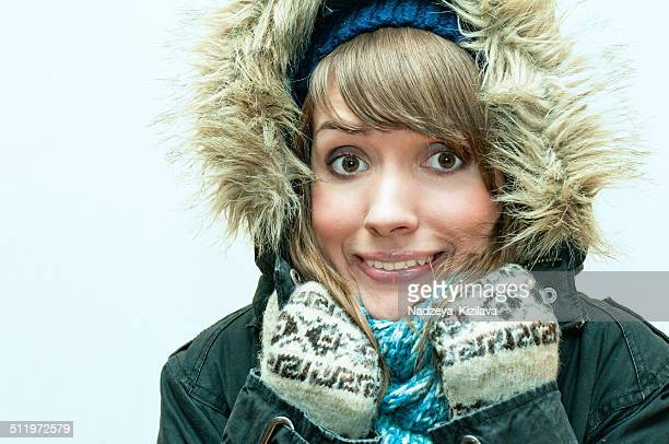 too cold! - parka coat stock photos and pictures
