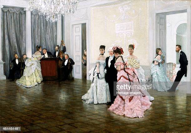 'Too Early' 1873 Figures at a society dance The guests are standing in the middle of a near empty dance floor A man and a woman lean against a door...