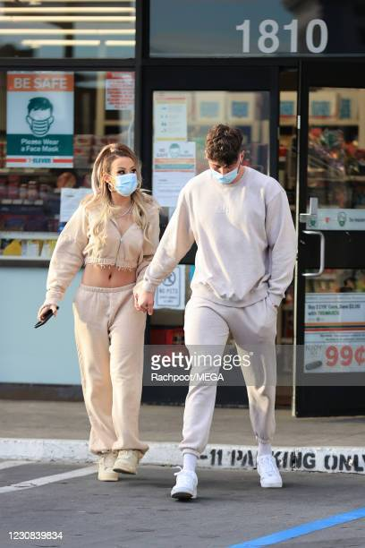 """Too Hot To Handle"""" star Harry Jowsey and YouTube sensation Tana Mongeau seen holding hands During an outing on January 28, 2021 in Los Angeles,..."""