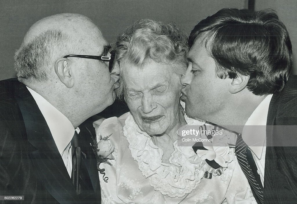 Too much!; At the age of 100; a lady should no longer be required to pucker up on demand - and Alice Ironside has no intention of doing just that. The unsuccessful smoochers are Lt.-Gov. John Aird; left; and Health Minister Dennis Trimbrell; who tried to congratulate her on her birthday at Sunnybrook Hospital.