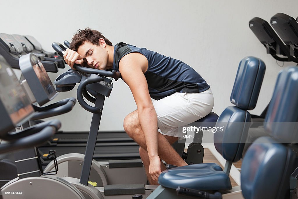Too tired to fitness : Stock Photo