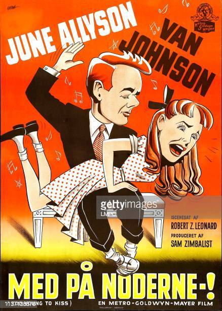 Too Young To Kiss poster Danish poster art from left Van Johnson June Allyson 1951