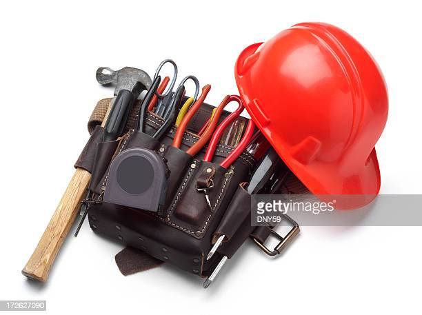 tool belt and hardhat - red belt stock pictures, royalty-free photos & images