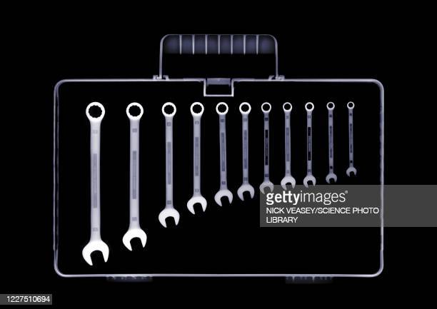 tool box with wrenches in descending order, x-ray - x ray image stock pictures, royalty-free photos & images