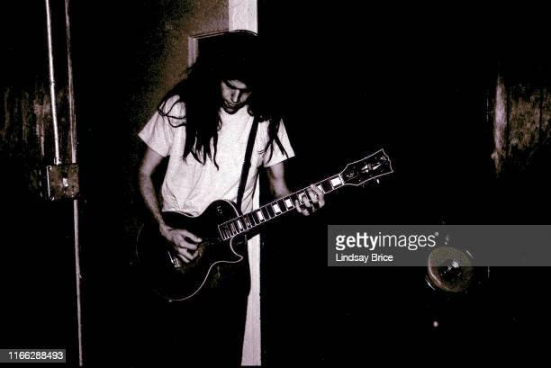 Tool guitarist Adam Jones recording Opiate at Sound City Studios in Van Nuys on December 22 1991 in Los Angeles