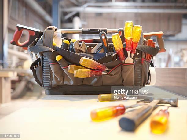 Tool kit in woodwork workshop