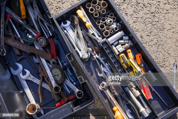 tool kit on the driveway - toolbox stock pictures, royalty-free photos & images