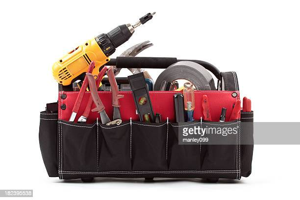 tool tote box with tools - toolbox stock photos and pictures