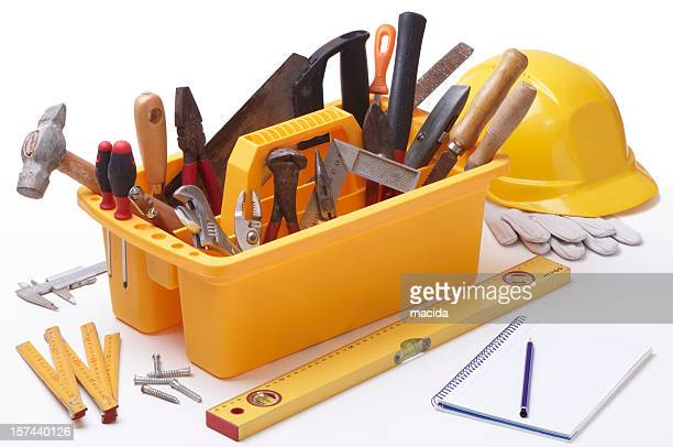 Toolbox and tools with hardhat and measuring instruments